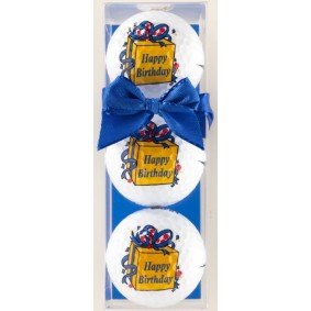 Golf verjaardagscadeaus - Golfcadeaus - kopen - 3 Golfballen Happy Birthday blauwe strik