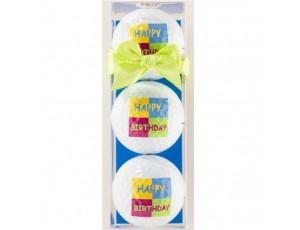 Golf verjaardagscadeaus - Golfcadeaus - kopen - 3 Golfballen Happy Birthday licht groene strik