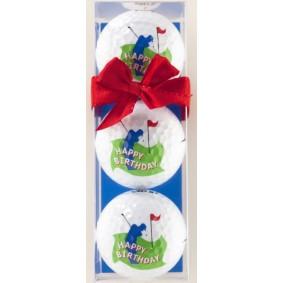 Golf verjaardagscadeaus - Golfcadeaus - kopen - 3 Golfballen Happy Birthday rode strik