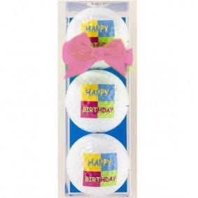 Golf verjaardagscadeaus - Golfcadeaus - kopen - 3 Golfballen Happy Birthday rose strik