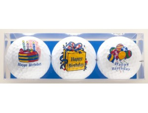 Golf verjaardagscadeaus - Golfcadeaus - kopen - 3 Golfballen Happy Birthday taart cadeau ballonnen