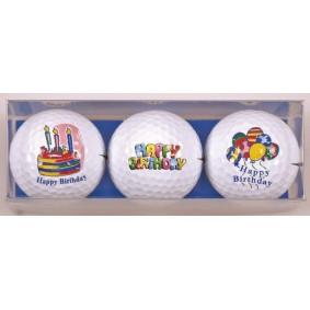 Golf verjaardagscadeaus - Golfcadeaus - kopen - 3 Golfballen Happy Birthday taart tekst ballonnen