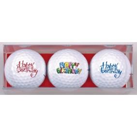 Golf verjaardagscadeaus - Golfcadeaus - kopen - 3 Golfballen Happy Birthday teksten