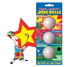Golfaccessoires - Golfballen -  kopen - 3 verschillende Joke golfballen