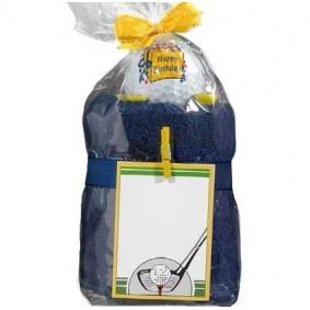 Golf verjaardagscadeaus - Golfcadeaus - kopen - Caddy Towel Happy Birthday blauwe handdoek