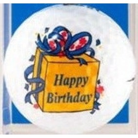 Golf verjaardagscadeaus - Golfcadeaus - kopen - Golfballen Happy Birthday blauwe strik per stuk
