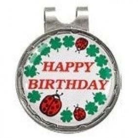 Golf verjaardagscadeaus - Golfcadeaus - kopen - Head clip met ball marker Happy Birthday