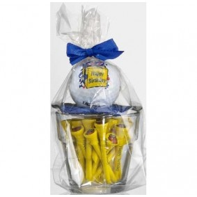 Golf verjaardagscadeaus - Golfcadeaus - kopen - Klein glaasje met bal en tees Happy Birthday geel