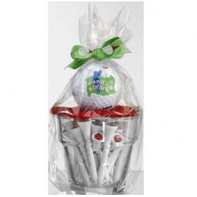 Golf verjaardagscadeaus - Golfcadeaus - kopen - Klein glaasje met bal en tees Happy Birthday witte tees
