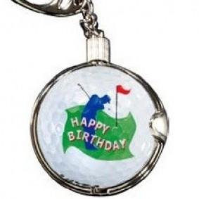 Golf verjaardagscadeaus - Golfcadeaus - kopen - Sleutelhanger Happy Birthday met echte golfbal